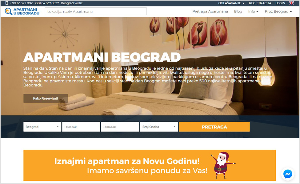 Početna na sajtu Apartmani u Beogradu