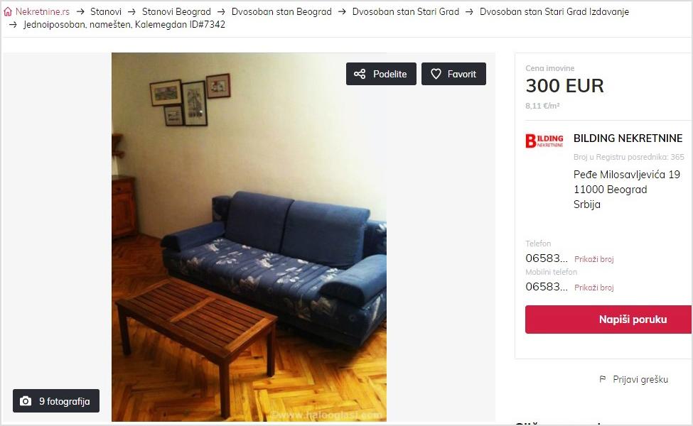 Pretraga apartmana na sajtu nekretnine.rs