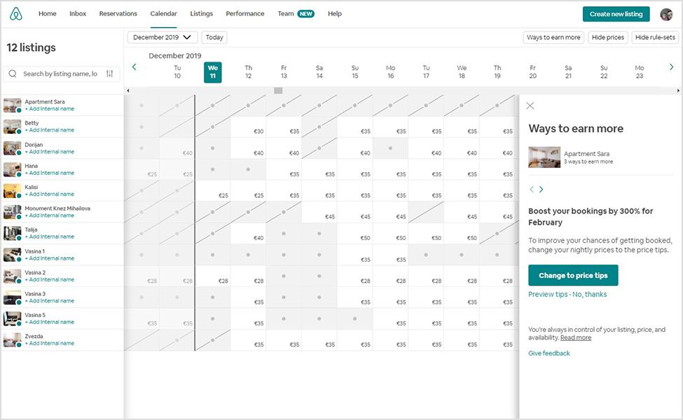 kalendar na airbnb-u