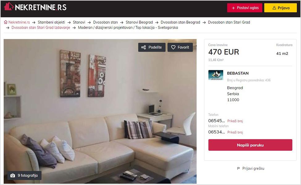 singl page apartmana na sajtu nekretnine