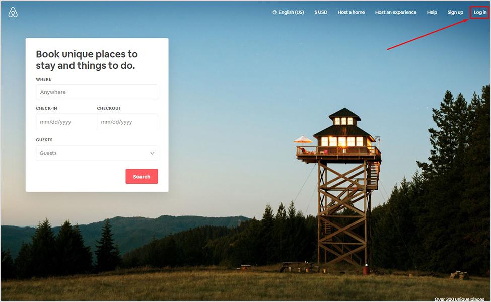 Login na airbnb-u
