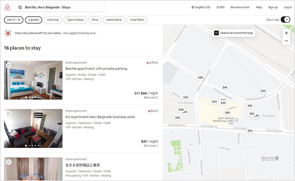 Napredna pretraga na airbnb-u